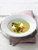 Stinging nettle soup with herb croutons