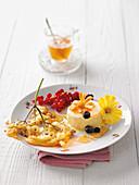 Deep-fried elderflowers with honey parfait