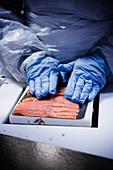 Arbeiter verpackt Lachsscheiben