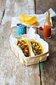 Fajita-Tacos im Spankorb