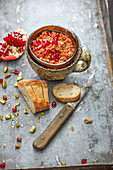 Muhammara-style pepper and pomegranate pasta (vegan)