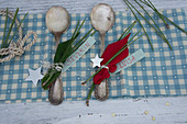 Silver spoons decorated with poinsettia and pine needles used as place cards
