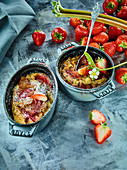 Oatmeal curd pudding with strawberries and rhubarb