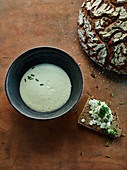 Jerusalem artichoke, leek, and Riesling soup with cream cheese topped bread