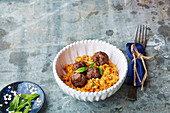 Turmeric vegetables with meatballs