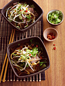 Vietnamese mint, beef and noodle soup