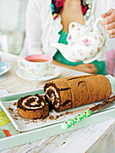 Chocolate and frangelico roulade