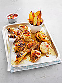 Portugese chicken with chilli and wedges