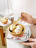 Star anise and cherry ice-cream