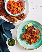 Chipotle and orange grilled chicken with salsa verde and red rice