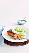 Crispy-skin Salmon with cucumber and minted Yoghurt