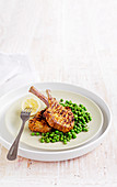 Vindaloo pork cutlets with minted peas