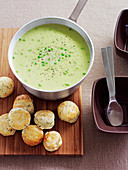 Chunky pea soup with chive scones
