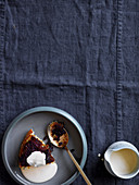 Treacle pudding with vanilla custard