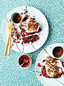 Choc raspberry brioche marshmallow sandwiches