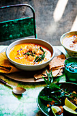 Spiced carrot and lentil soup
