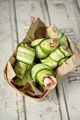 Cucumber wraps with turkey breast and hummus