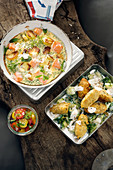 Salmon frittata with tomato salad and falafel with a yoghurt dip