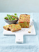 Chickpea and vegetables terrine with a salad