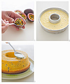 Brazilian passion fruit cake being made