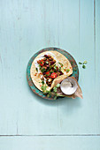 Burritos con carne with coriander