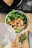 Fried lemon chicken with fennel and rocket