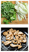 Preparation of fried lemon chicken with fennel and rocket