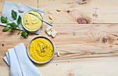 Miso cream and garlic and turmeric paste