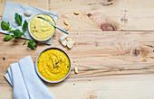 Miso cream and garlic and turmeric paste