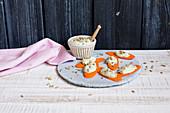 Carrot and feta crostini (low GL)