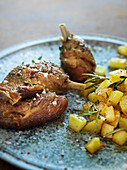 Duck confit with roasted potatoes and rosemary