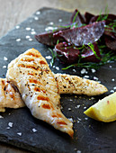 Grilled chicken fillets with a beetroot salad and dill