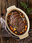 Roasted lamb liver with Pancetta, carrots and rosemary