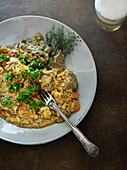 Irish stew with lamb, barley and cabbage