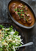 Braised pork roulade with a fennel salad and apple salsa