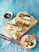 Summer rolls with teriyaki tofu and vegetables spirals
