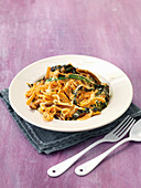 Sweet potato noodles with a creamy chard sauce