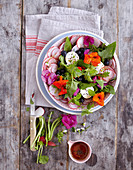 Wildkräuter-Salat mit Ziegenkäse und Heidelbeeren (Low Carb)
