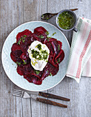 Beetroot carpaccio with burrata and pesto (low carb)