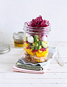 Fruity low carb salad in a jar