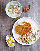 Parmesan schnitzel with a vegetable salad (low carb)