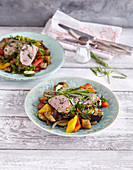 Pork fillet in a herb coating with ratatouille (low carb)