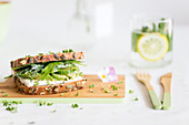 Cream cheese, avocado, cucumber, rocket and cress sandwich