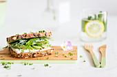 Cream cheese, avocado, cucumber, rocket and cress sandwich