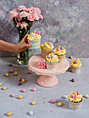 Colourful cupcakes with Easter eggs