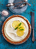 Lemon cake with white chocolate cream