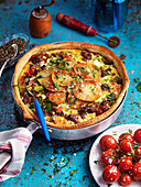 Potato and mince pie with baked tomatoes