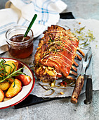 Roast pork cutlets with rosemary infused apples and honey