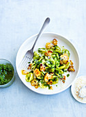Orecchiette pasta with roasted cauliflower and green pesto