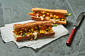 Veggie dogs with carrots and sweetcorn